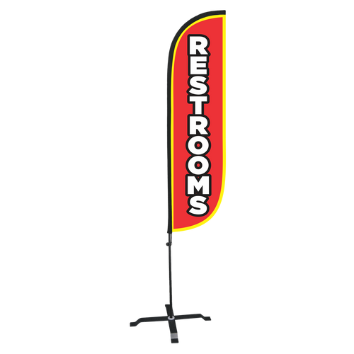5ft restroom feather flag with X stand