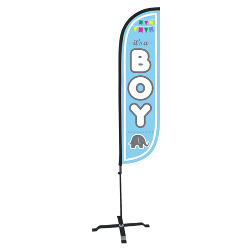 5ft It's a boy feather flag with X stand