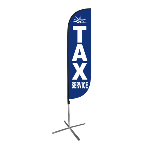 5ft Liberty tax feather flag with X stand