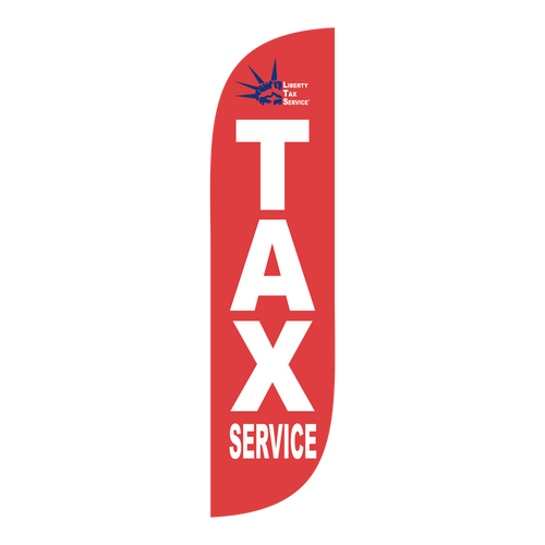 Liberty Tax red 5ft feather flag with new logo.