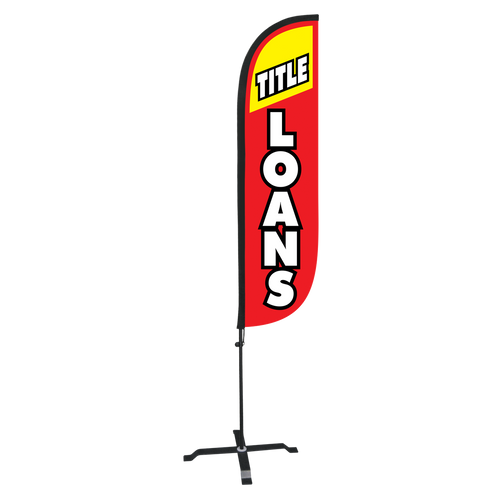 5ft Title Loans Red Feather Flag with X Stand