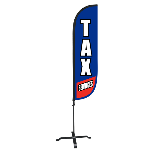 5ft blue tax service feather flag with X stand