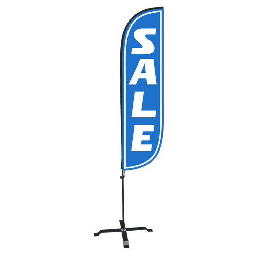 Blue Sale Feather Flag with X stand