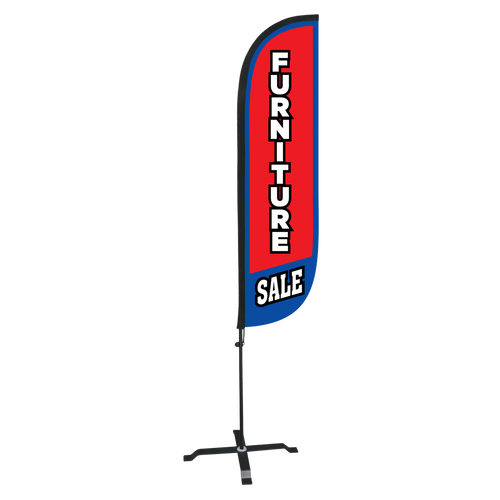 5ft Red Furniture Sale Feather Flag with X stand