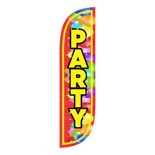 5 foot Party Feather Flag with Balloons