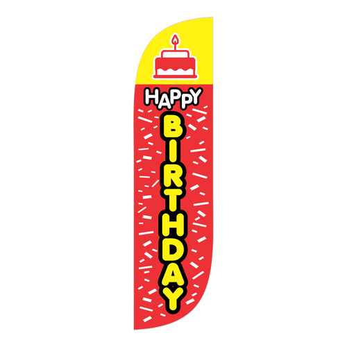 Happy birthday to you! Adorn your next family birthday party with the 5ft Happy Birthday feather flag. Tastefully appropriate, this Birthday themed feather flag will help add flare to your next birthday party celebration. Whether you are throwing a party for a loved one, or you are a professional event planner, the  Happy Birthday 5ft feather flag is a think-outside-the-box decoration. Let us make someone's special day even more memorable with the 5ft Happy Birthday feather flag