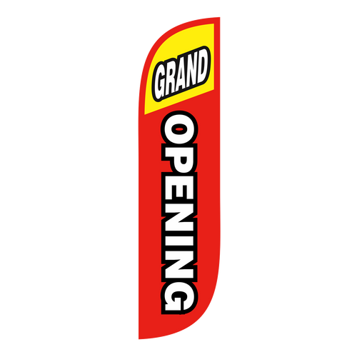 Opening a business and want to let everyone know.  5ft Grand Opening feather flags in red and yellow are the perfect product to promote the opening of your business. Feather flags are in-stock and ready to ship. Make sure the Grand Opening of your business gets the attention it deserves with Go Big Advertising  products.