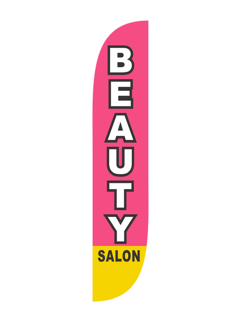 12 Foot Beauty Salon Feather Flag Pink