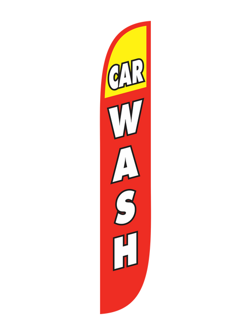 12 Ft Open-Faced Red & Yellow Car Wash Feather Flag. People don't realize they need a car was until they are reminded of one. Tell everyone who drives by your car wash that you provide car washes by placing a 12ft  Car Wash Yellow Flag in Red & Yellow in front of your business. Get business from everyone who passes by who needs a car wash by marketing your business with a feather flag. Get yours today