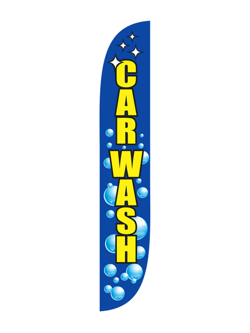 12 Foot Open-Faced Bubbles Car Wash Feather Flag