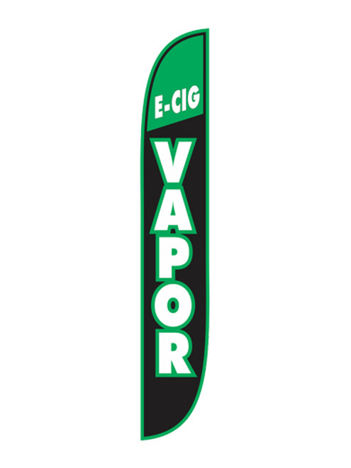 12 Foot E-Cig Vapor Green, White and Black Feather Flags