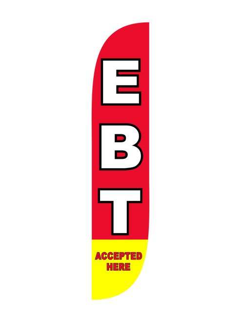 The 12ft EBT Accepted Here 1 Feather Flag