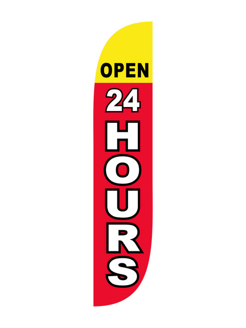 The 12ft Open 24 Hours Feather Flag Red & Yellow
