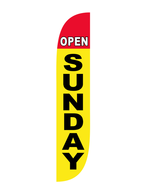 12ft Open Sunday Feather Flag red yellow