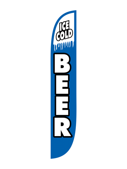 12ft Ice Cold Beer Feather Flag blue
