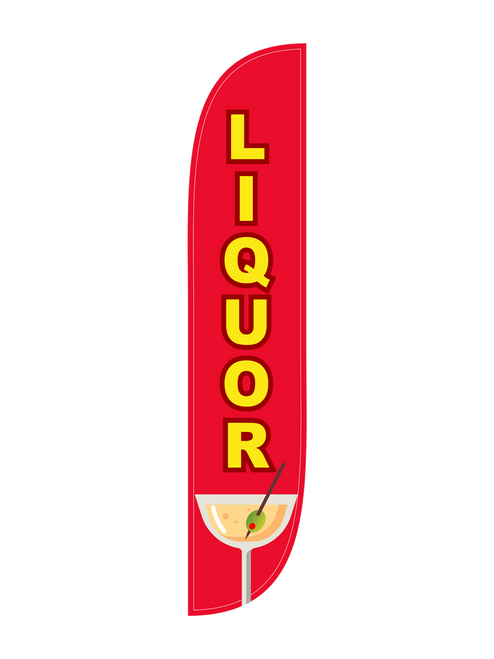 Liquor Feather Flag in 12ft size  in red