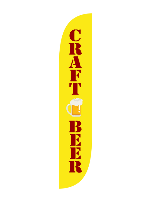 Craft Beer Feather Flag in 12ft size in yellow