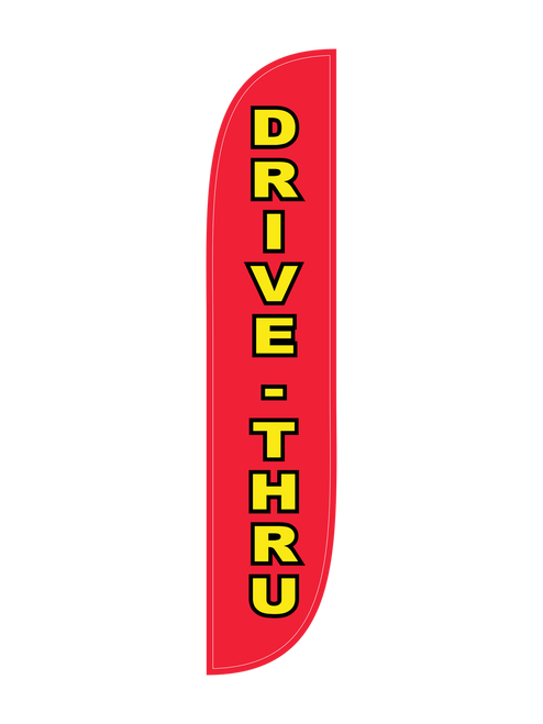 Drive-Thru Feather Flag in 12ft size in red
