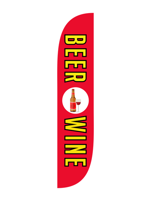 Beer & Wine Feather Flag in 12ft size  in Red. The ingredients of a great party, beer and wine. Let everyone know that your grocery store, liquor store, or convenience store has beer and wine in stock. Need to direct event goers to the beer and wine area of your event? Stick a feather flag in the ground and let everyone know where they can go to get their beer and wine. At a wildly low cost, the feather flag is an economic advertising powerhouse. In-stock and ready to ship today, let us do the work for you with our Beer & Wine feather flag.