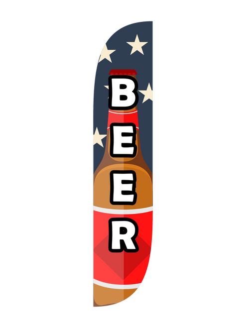 Beer Feather Flag in 12ft size in Red White Blue