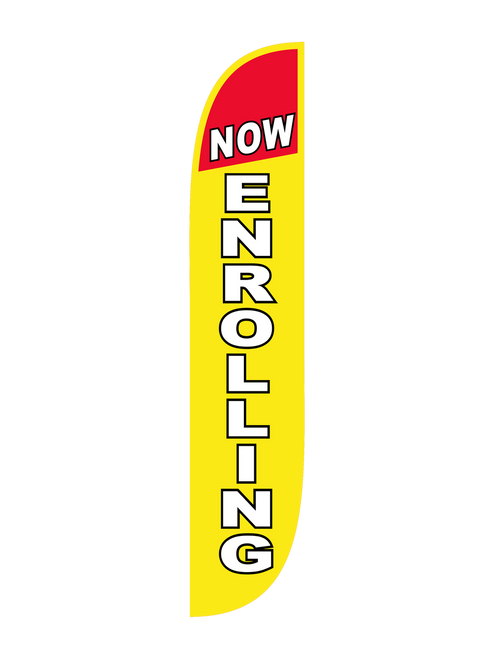 Now Enrolling 12ft Feather Flag in Yellow & Red
