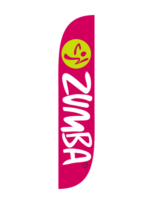Zumba Fitness Pink feather flag
