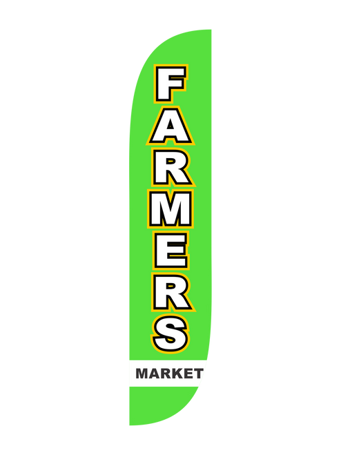 12ft Farmers Market Feather Flag Green