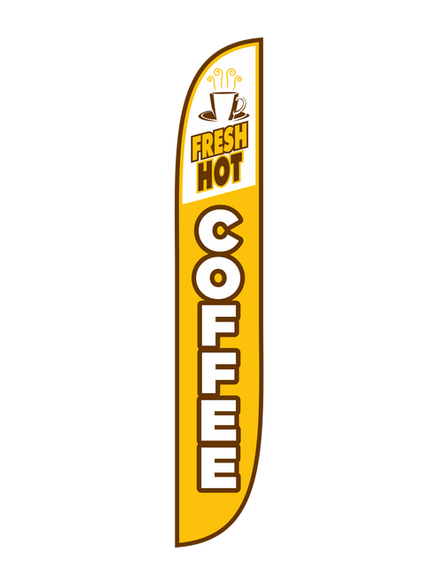 12 Foot Yellow Fresh Hot Coffee Feather Flag