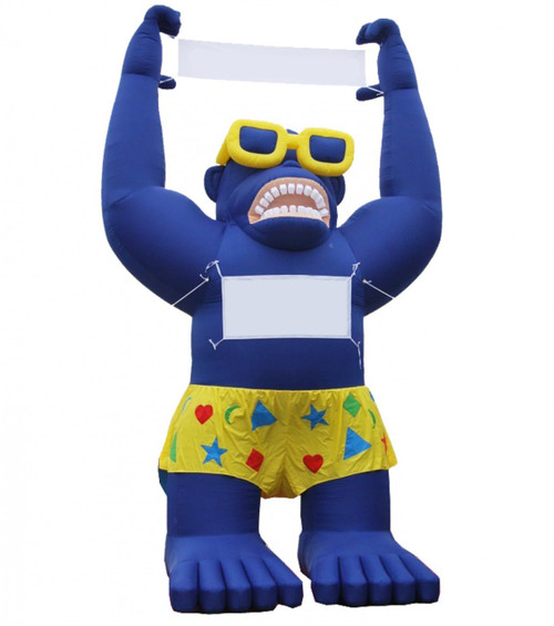 Blue Gorilla Inflatable (1) 2.6' x 5.5' blank banner (held in gorilla's hands) (1) 2.6' x 4.5' blank banner (displayed on gorilla's chest)