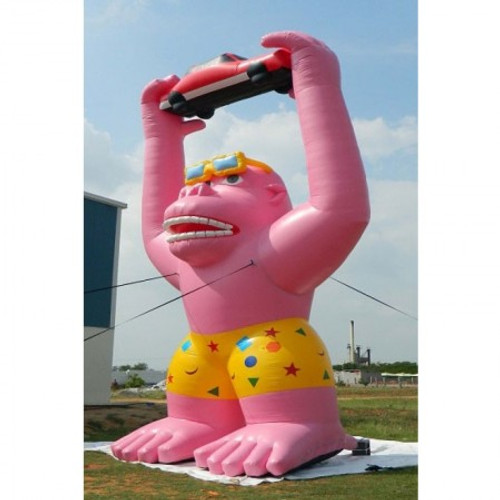 20ft Pink Gorilla with Glasses and Shorts