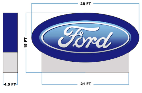 Giant Inflatable Blue Ford Logo - 15ft Tall