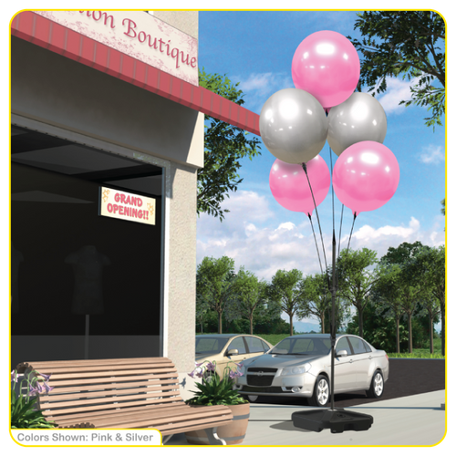 Reusable Vinyl Balloon Cluster With Weighted Base Pole Kit - 5