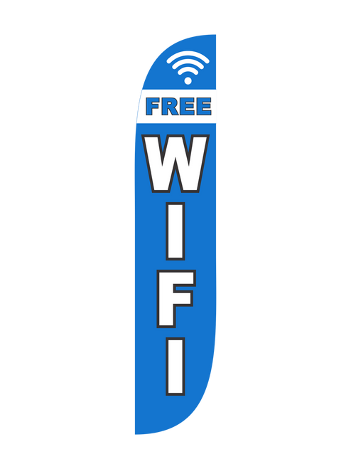 Free Wifi Feather Flag Blue