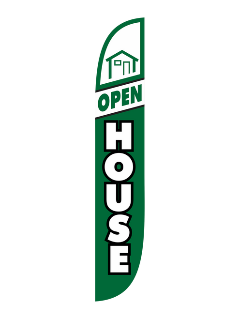 Open House Feather Flag Green