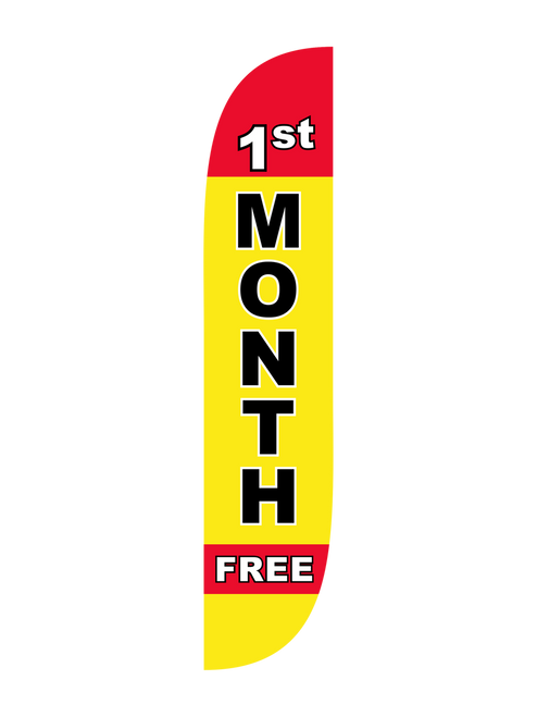1st Month Free Feather Flag Yellow