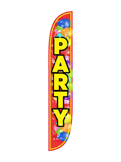 Party Feather Flag with Balloons