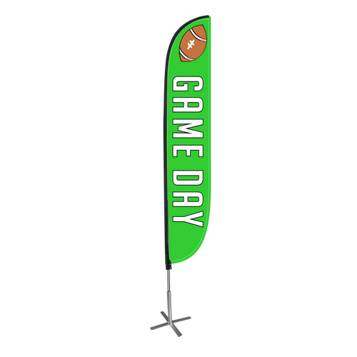 Game Day Feather Flag Green with X Stand