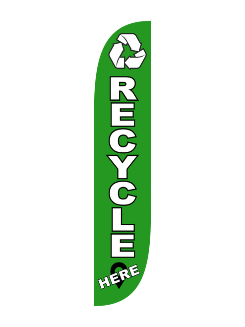 Recycle Here Feather Flag Green