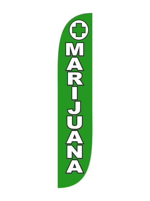 Marijuana Feather Flag Green