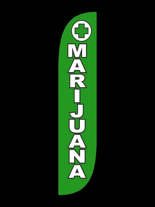 Marijuana Feather Flag Green