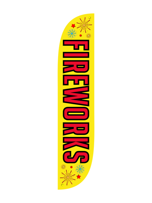 Fireworks Feather Flag Yellow Red