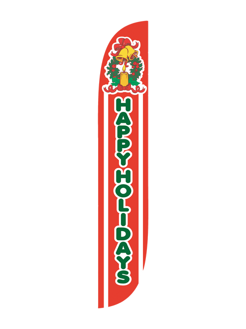 Happy Holidays Feather Flag with Wreath