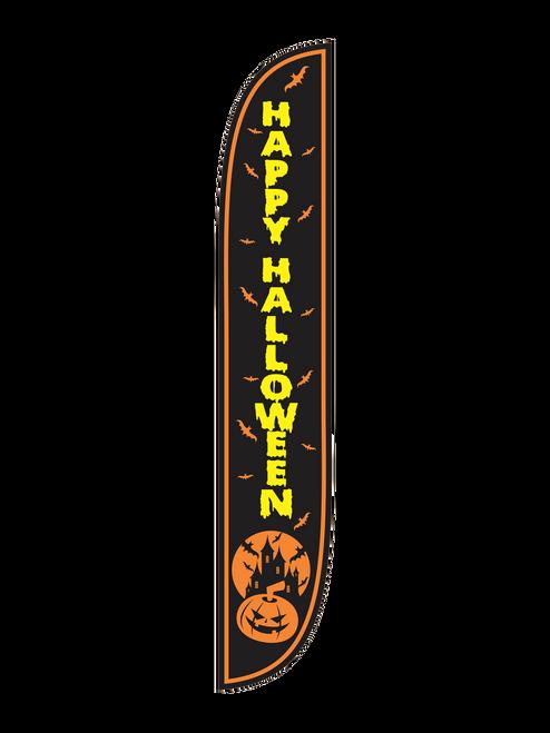 Happy Halloween Feather Flag Black
