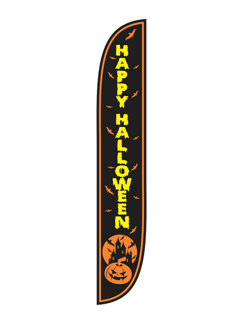 Happy Halloween Feather Flag Black