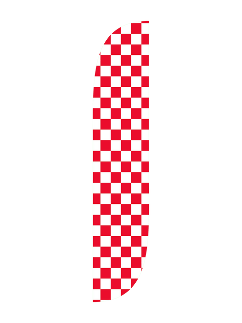 Checkered Feather Flag White & Red