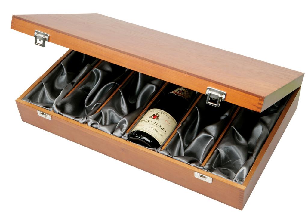 6 Bottle Wooden Presentation Box Silk lined