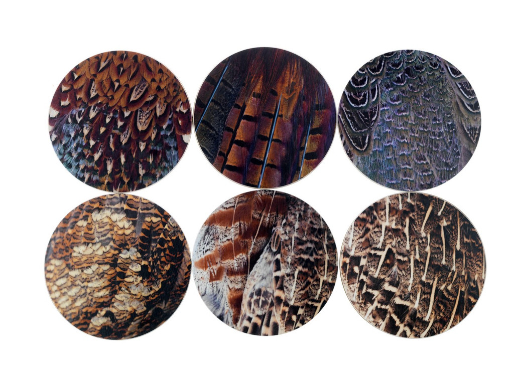 Drinks Coasters Pictured with Game Bird Plumage