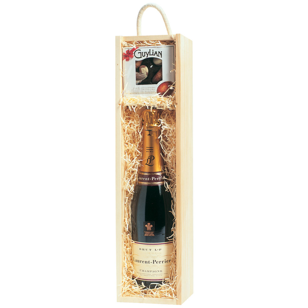 Empty Bottle and Gift Wooden Gift Box