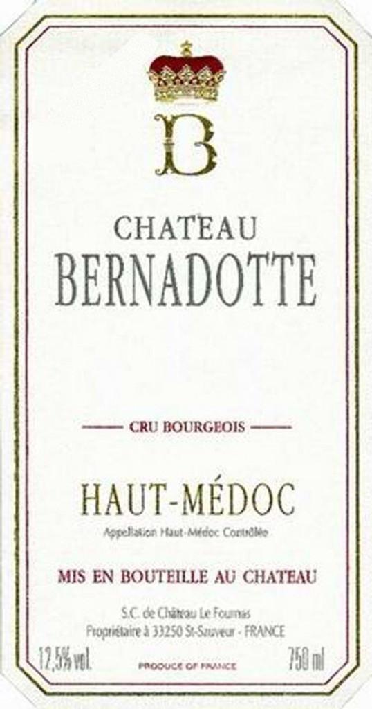 Château Bernadotte 2018 Haut Medoc 12 x 75cl