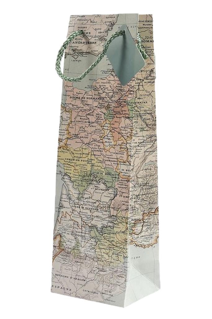 Single Bottle Wine Gift Bag Antique Map Design